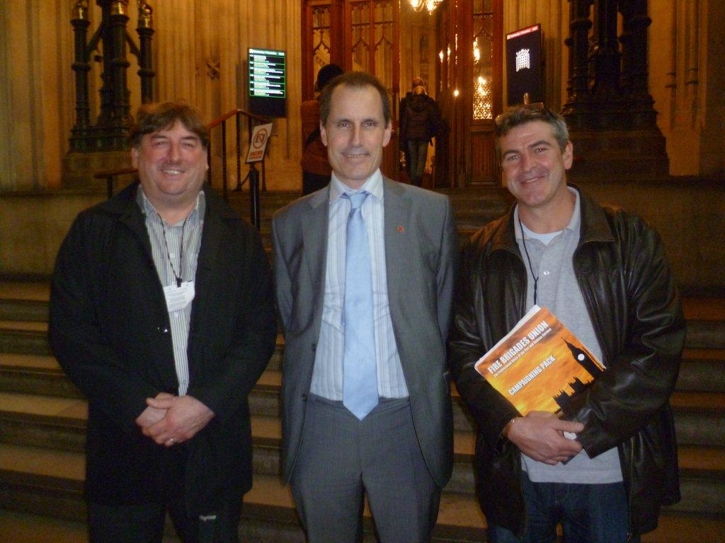Sefton Central Labour MP Bill Esterson with Aintree resident and FBU organiser Brian Hughes and FBU Secretary Les Skarratts during their visit to Parliament.