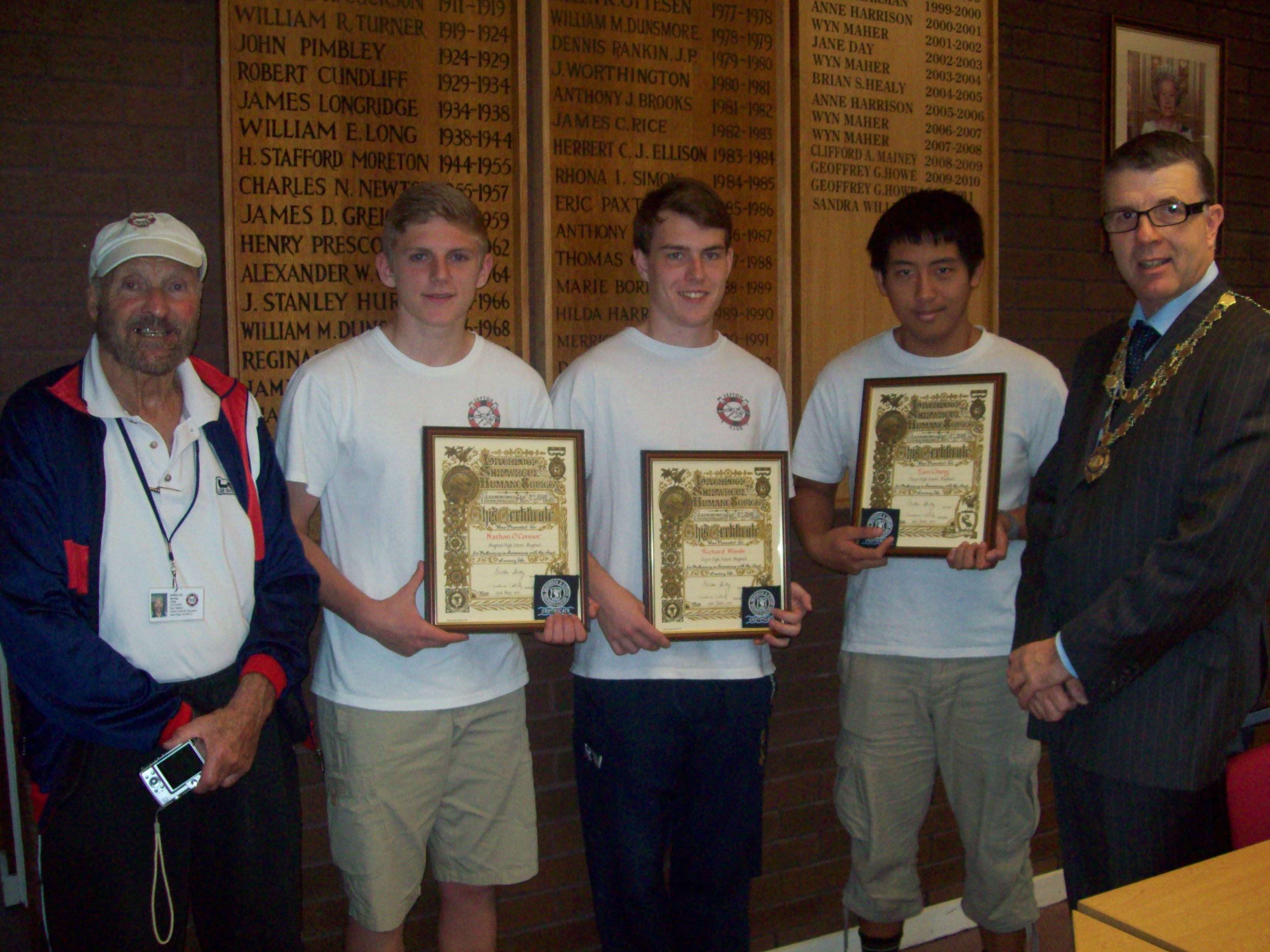 Mayor of Maghull Cllr Steve Kermode with Sefton Lifesaving and Swimming Club's Eric Deakin and award winners Samuel Chung, 18, Richard Woods, 17, and Nathan O'Connor, 16.