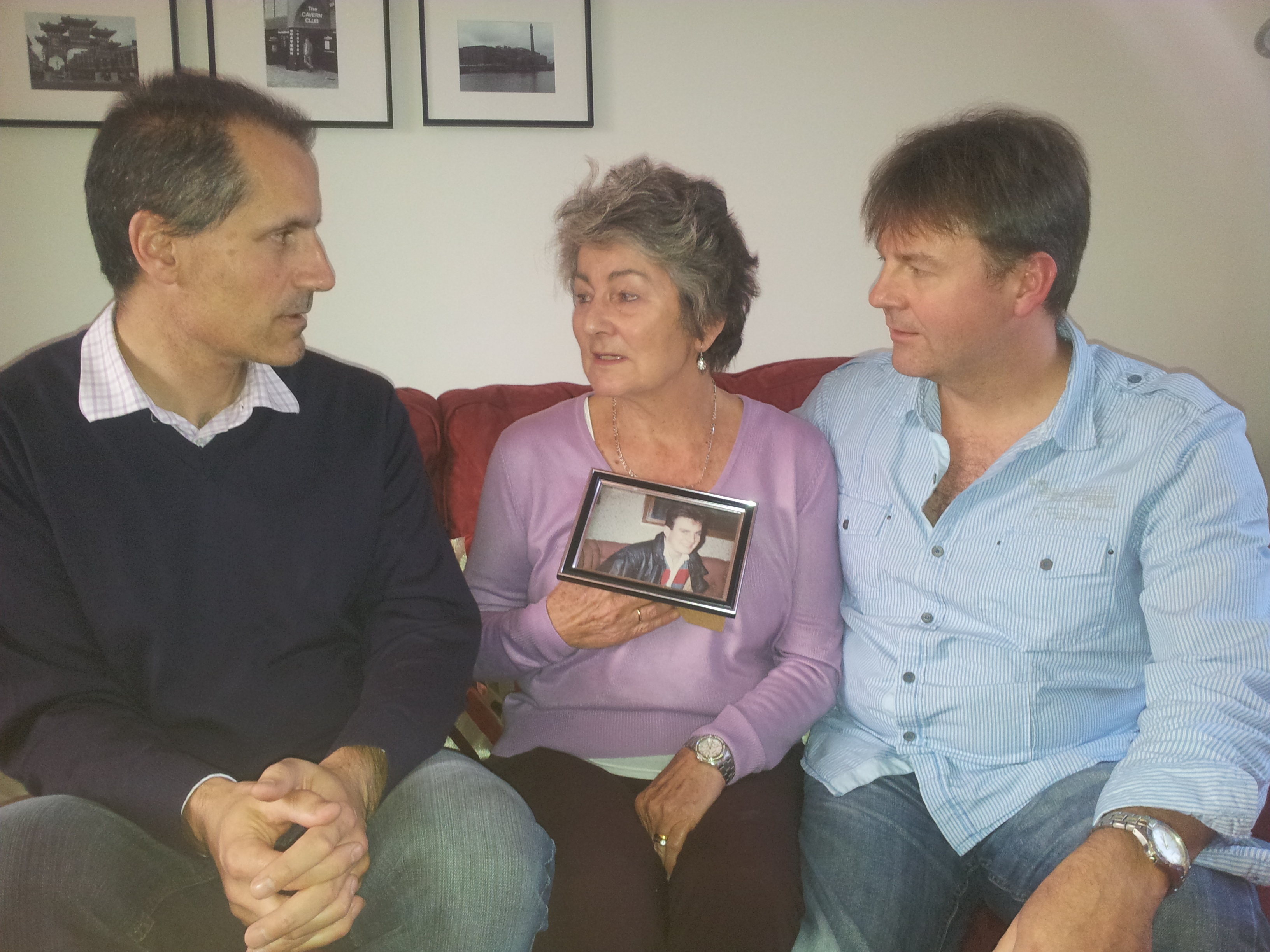 Sefton Central Labour MP Bill Esterson with mother and brother of Hillsborough victim Stephen Robinson, Rose and Paul Robinson.
