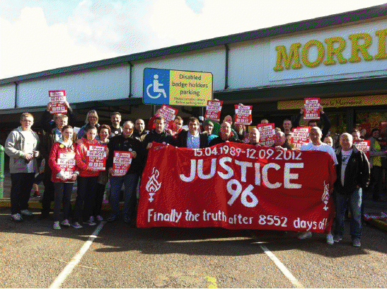 Labour Councillors on Magull Town Council joined Labour Walton MP Steve Rotheram and demonstrators from the Hillsborough Justice Campaign and the Spirit of Shankly group outside Morrisons in Maghull