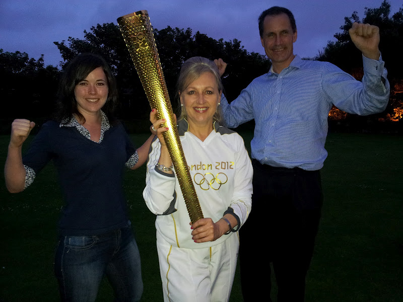 Sefton Central Labour MP Bill Esterson and Blundellsands Ward Labour Councillor Veronica Bennett with Olympic torchbearer Lorraine Sass.