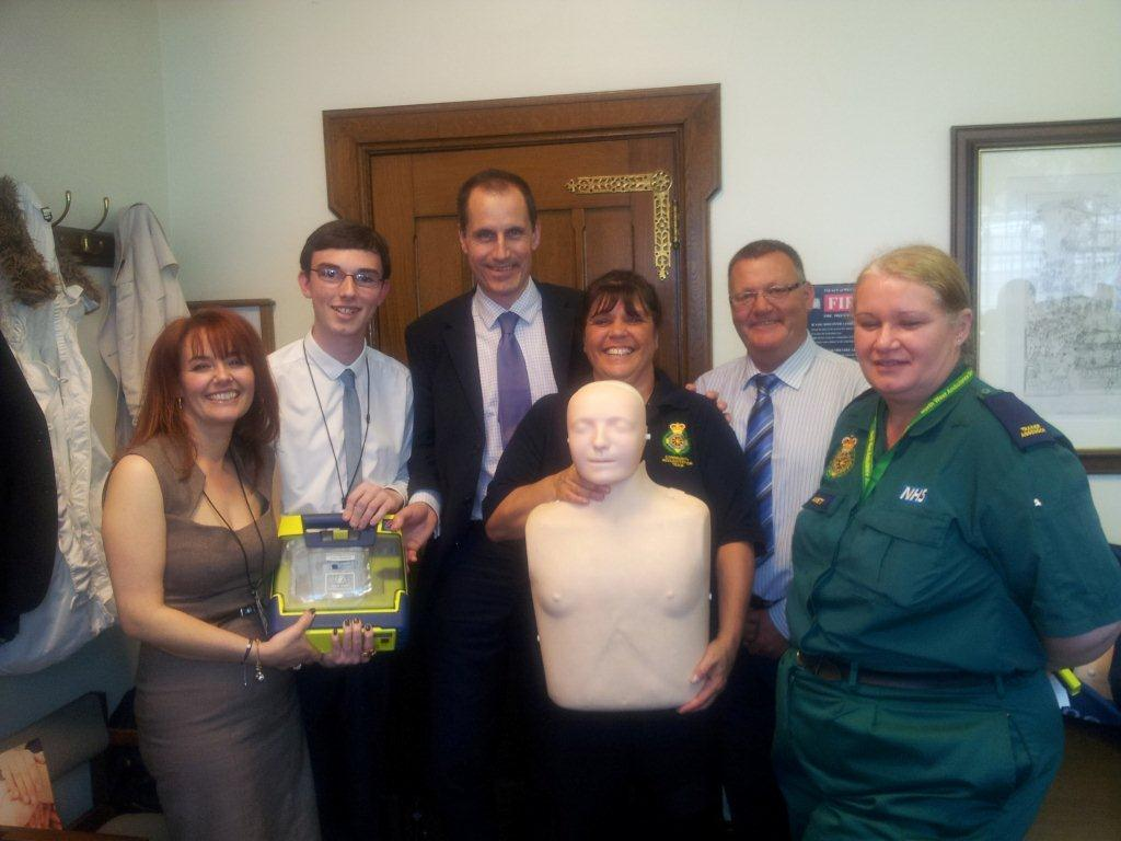 Sefton Central Labour MP Bill Esterson with members of the campaign to get defibrillators in all public buildings.