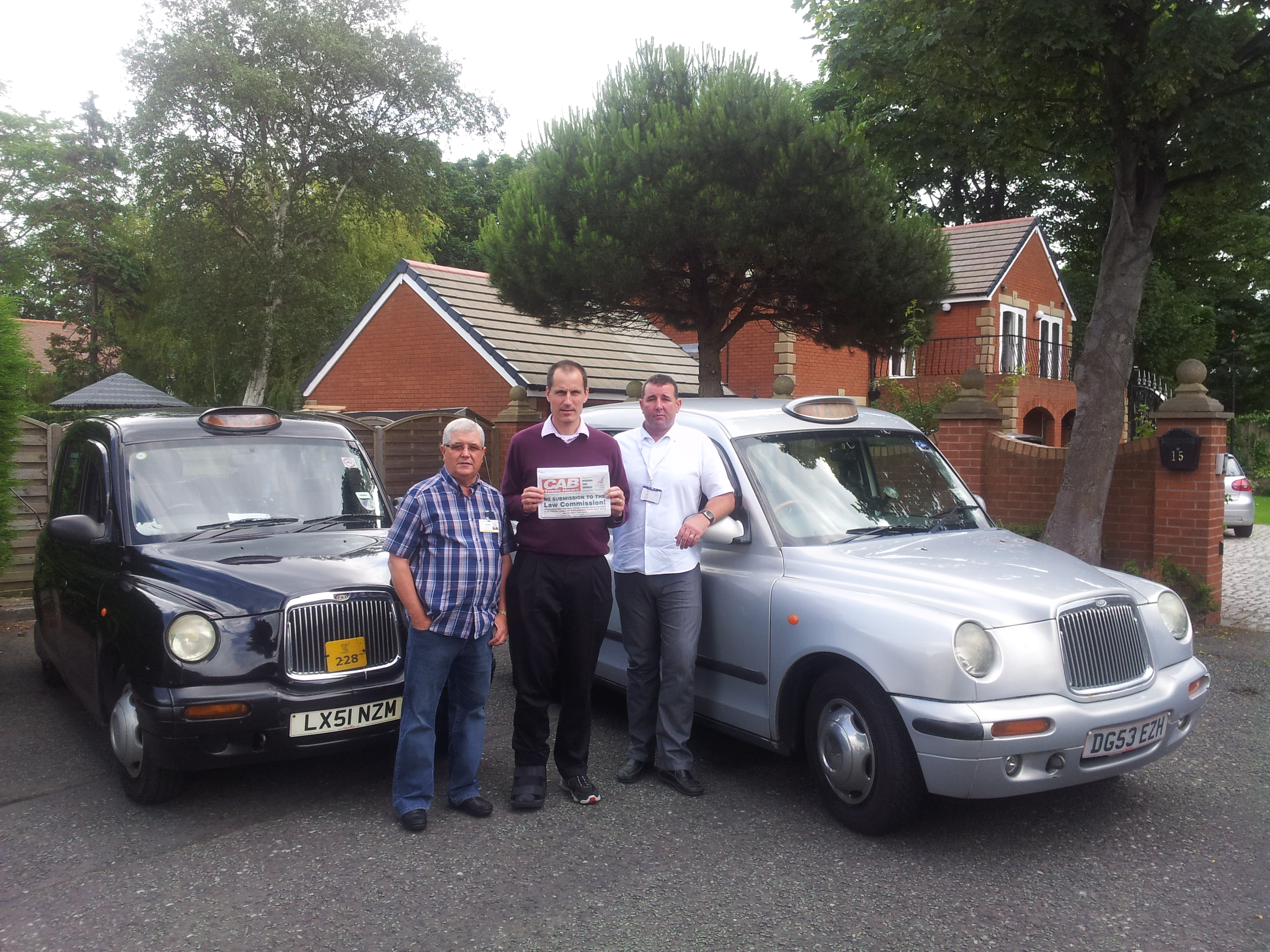 Sefton Central Labour MP Bill Esterson with taxi campaigners Vincent Kontske and Sefton Labour Councillor and licensed taxi driver Tony Carr.
