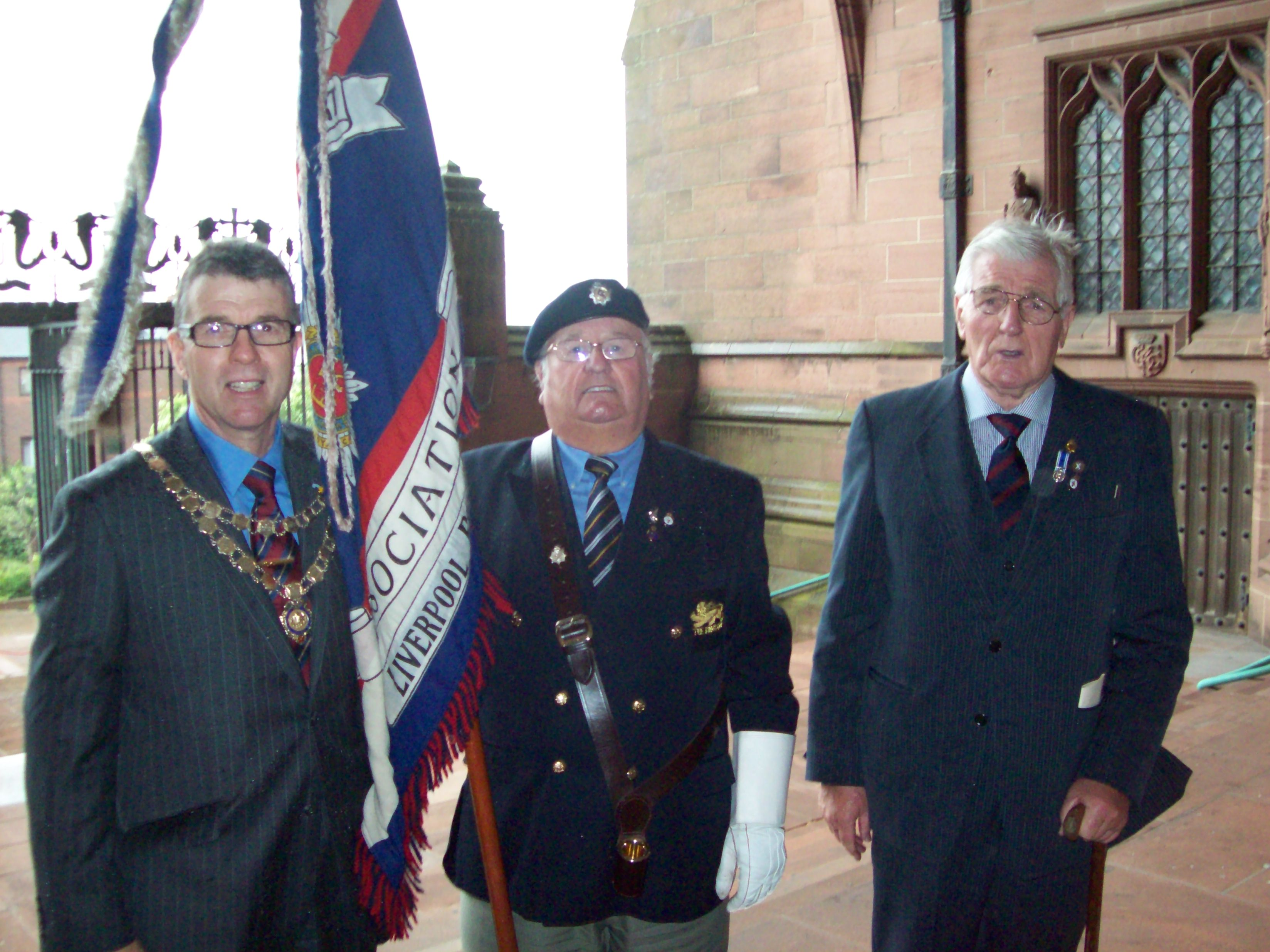 Mayor of Maghull, Labour's Cllr Steve Kermode with father James and Royal British legion Standard Bearer Maghull's Stan Thomason from the King's own Regiment.