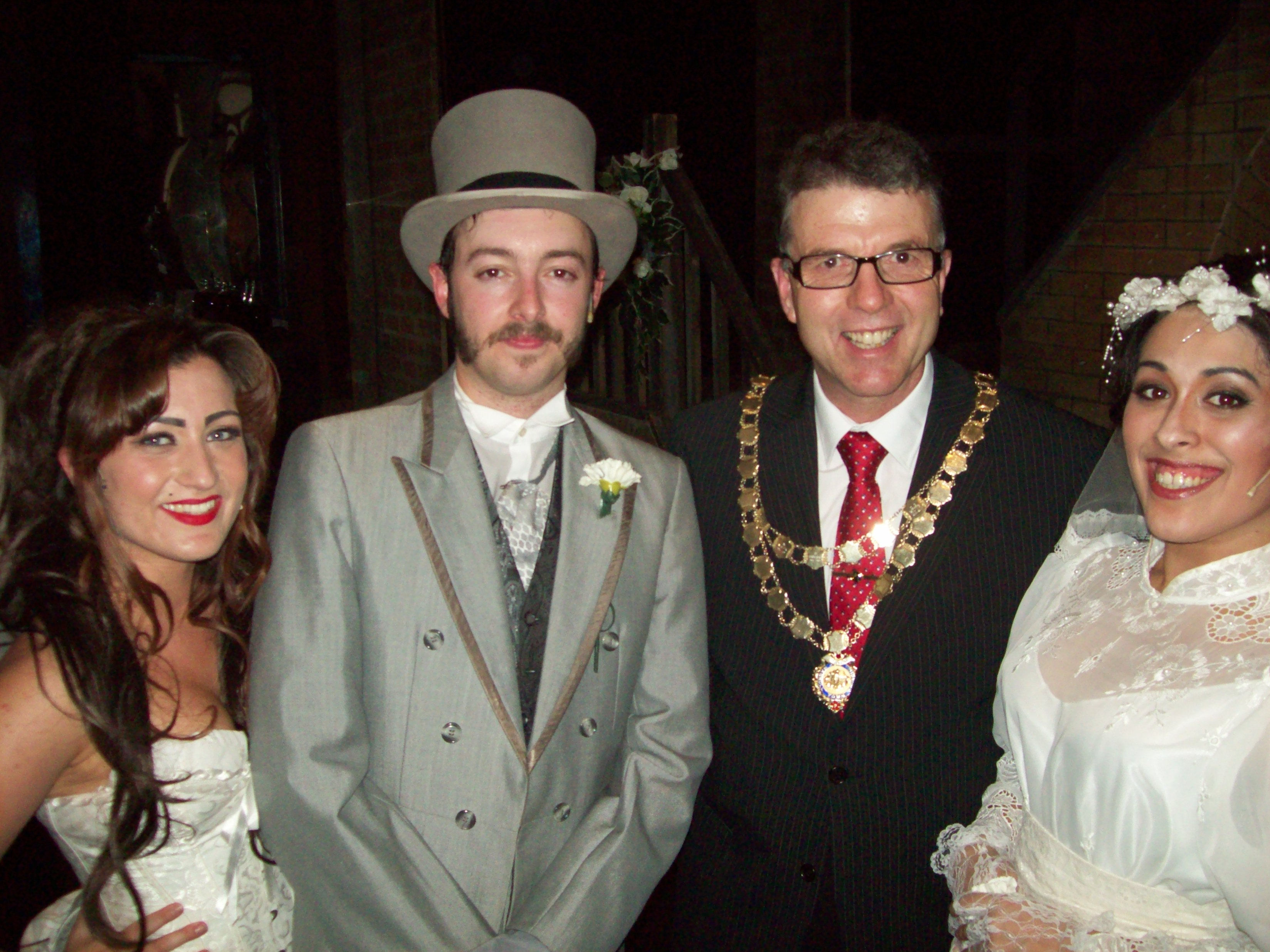 Mayor of Maghull Cllr Steve Kermode with Maghull Muscial Theatre Company cast members Peter Brennan who played Jekyll and Hyde, Kelli Bond who played Lucy Harris and Jessica D'Silva who played Emma Carew.