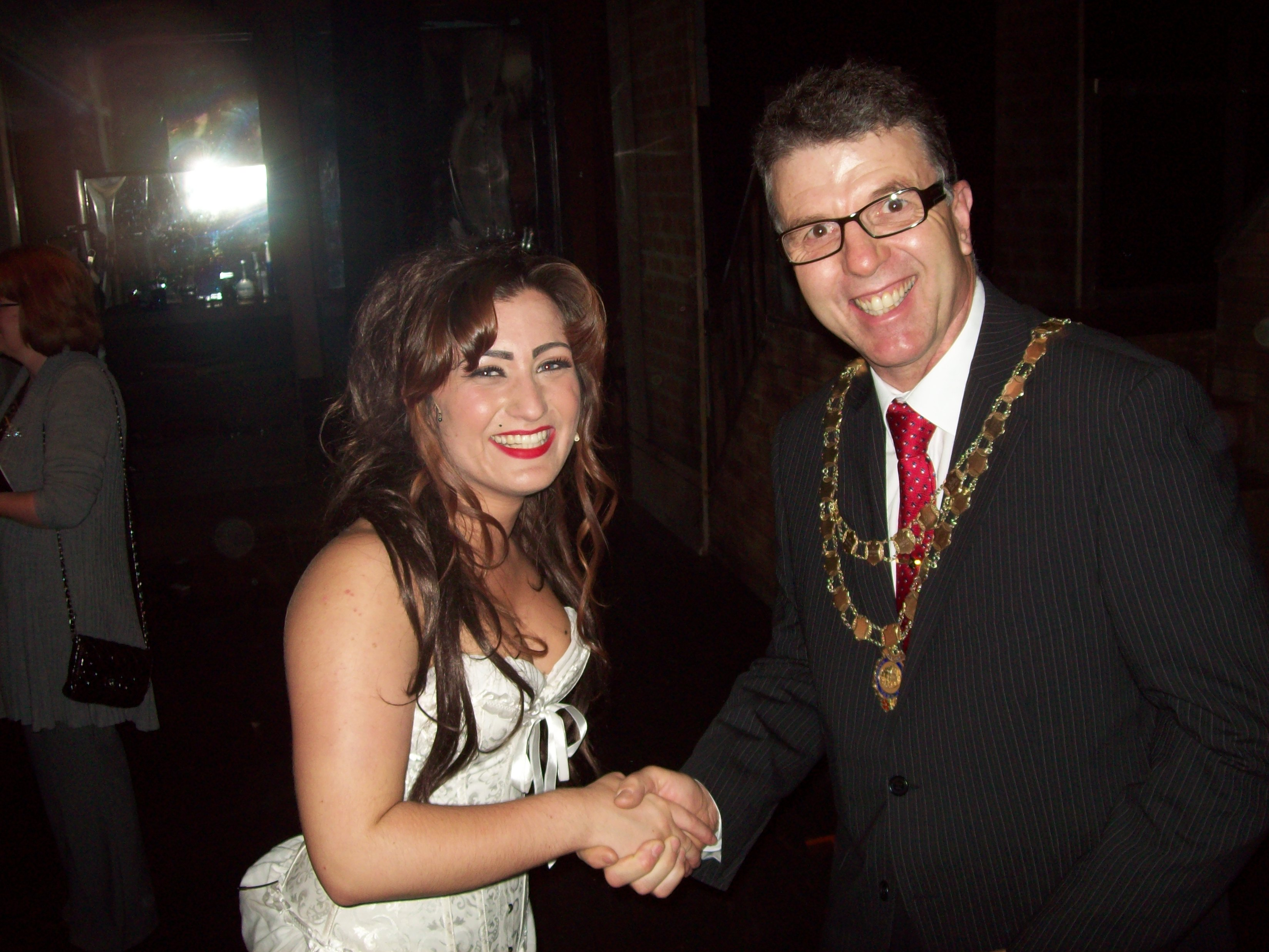 Mayor of Maghull Cllr Steve Kermode congratulates actress Lucy Harris following her performance.