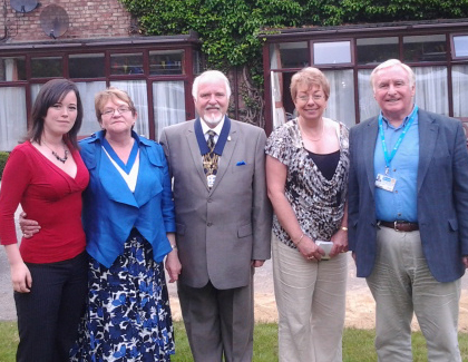 Blundellsands Ward's Cllr Veronica Bennet and Manor Ward's Cllr Steve McGinnity with Mayor and Mayoress of Sefton Cllrs Kevin and Linda Cluskey and Jospice fundraising manager Pat Murphy.
