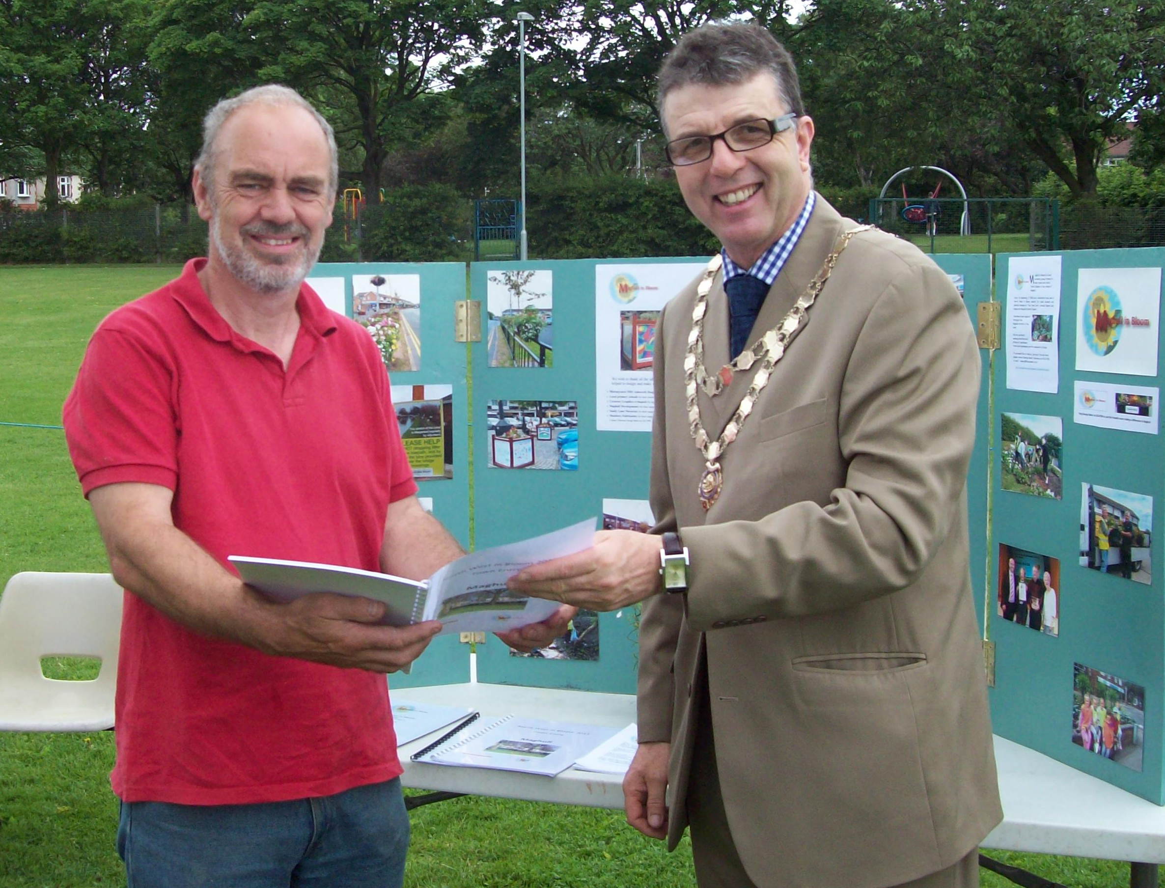 Mayor of Maghull, Labour's Cllr Steve Kermode with Maghull in Bloom chairman John Harrison.