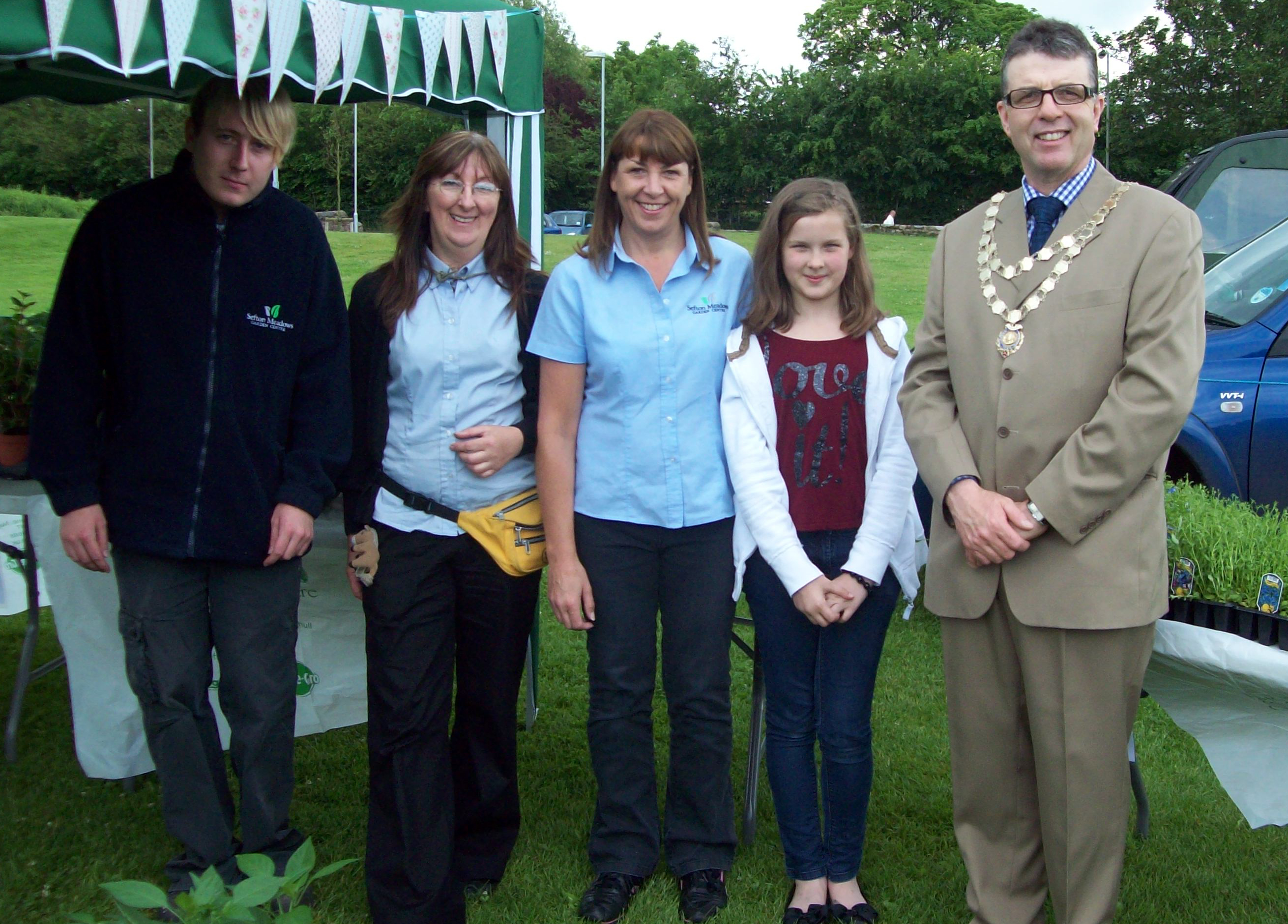 Mayor of Maghull, Labour's Cllr Steve Kermode with the Sefton Meadows Garden Centre Team.