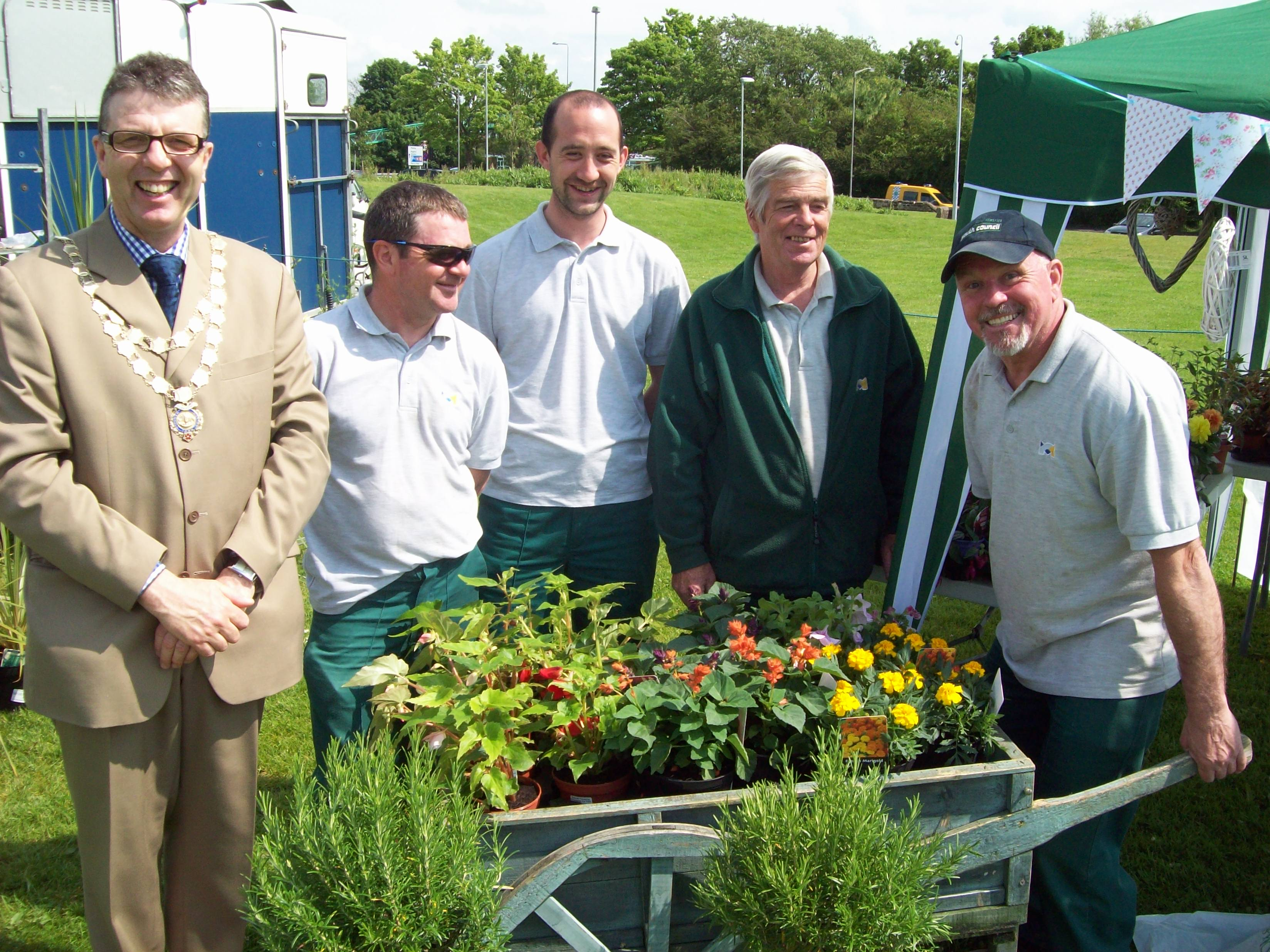 Mayor of Maghull, Labour's Cllr Steve Kermode with members of the Maghull Town Council ground staff.