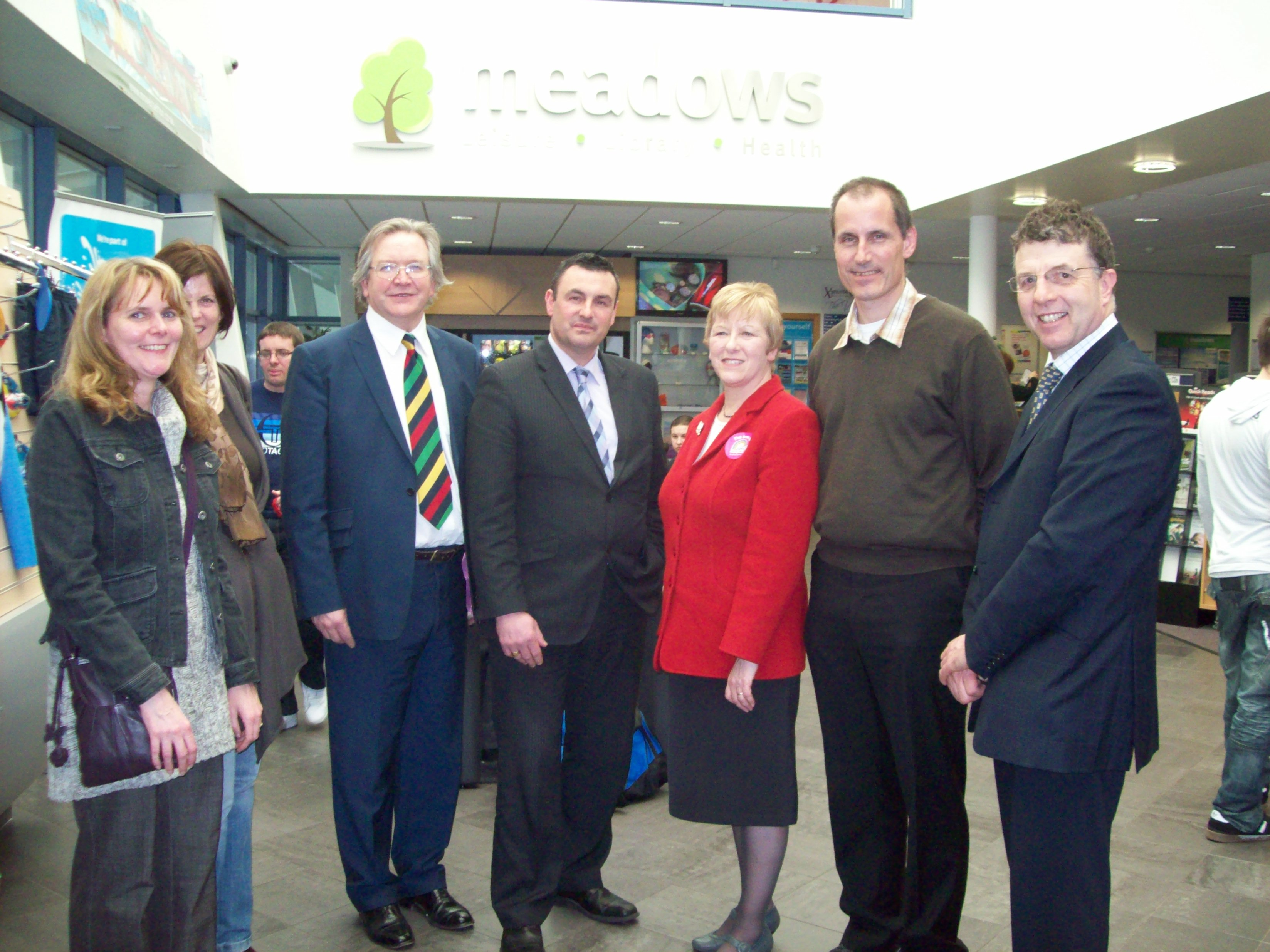 Labour's Shadow Minister for Communities and Local Government Helen Jones MP, Sefton Central Labour MP Bill Esterson and Sefton Council Labour leader Cllr Peter Dowd hear about Maghull's Support Our Shops campaign from business owner Steve Maxwell, Cllr Steve Kermode, Cllr Gwen Kermode and Lynn Gatherer.