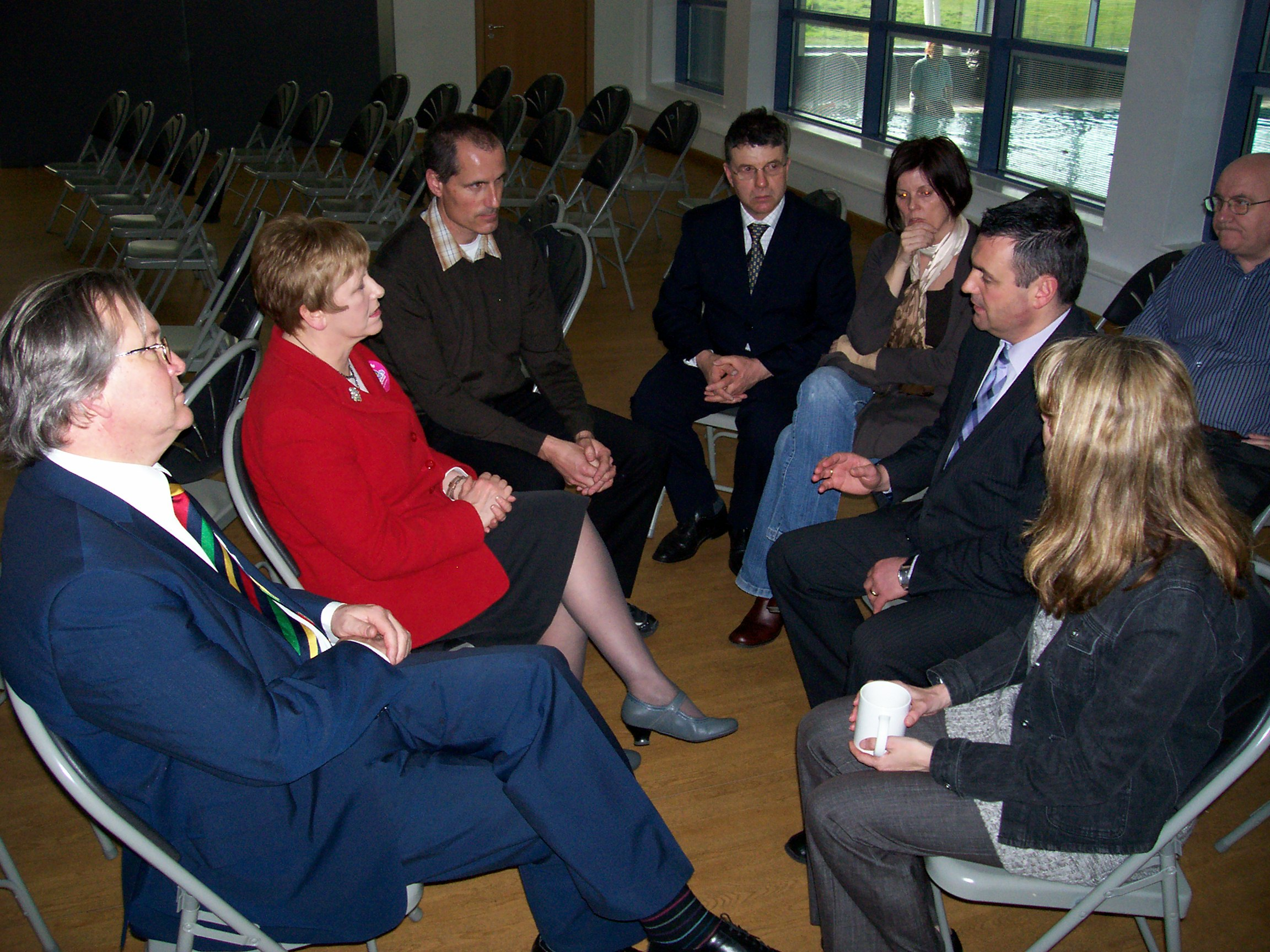 Labour's Shadow Minister for Communities and Local Government Helen Jones MP with Maghull business owner Steve Maxwell, Sefton Central Labour MP Bill Esterson, Sefton Council Labour leader Cllr Peter Dowd, Maghull Labour Action Team's Lynn Gatherer and Cllr Steve Kermode and Maghull Town Councillor Gwen Kermode.