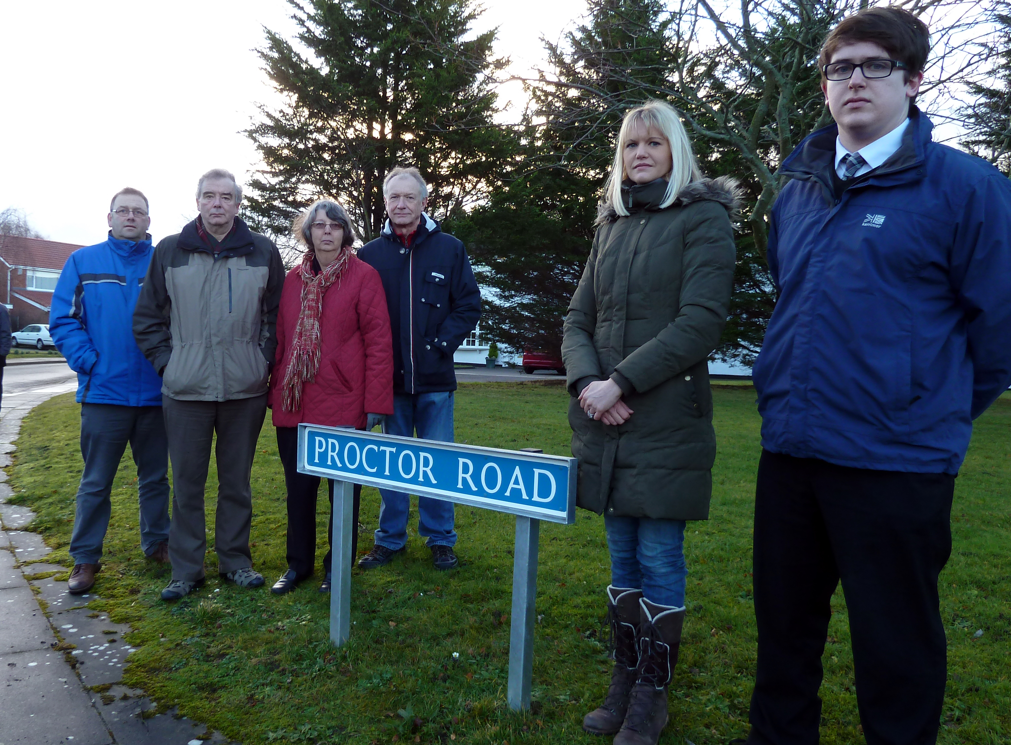 Formby Labour Action Team's Cllr Nina Killen and Tom Donnelly with some of the Proctor Road residents.