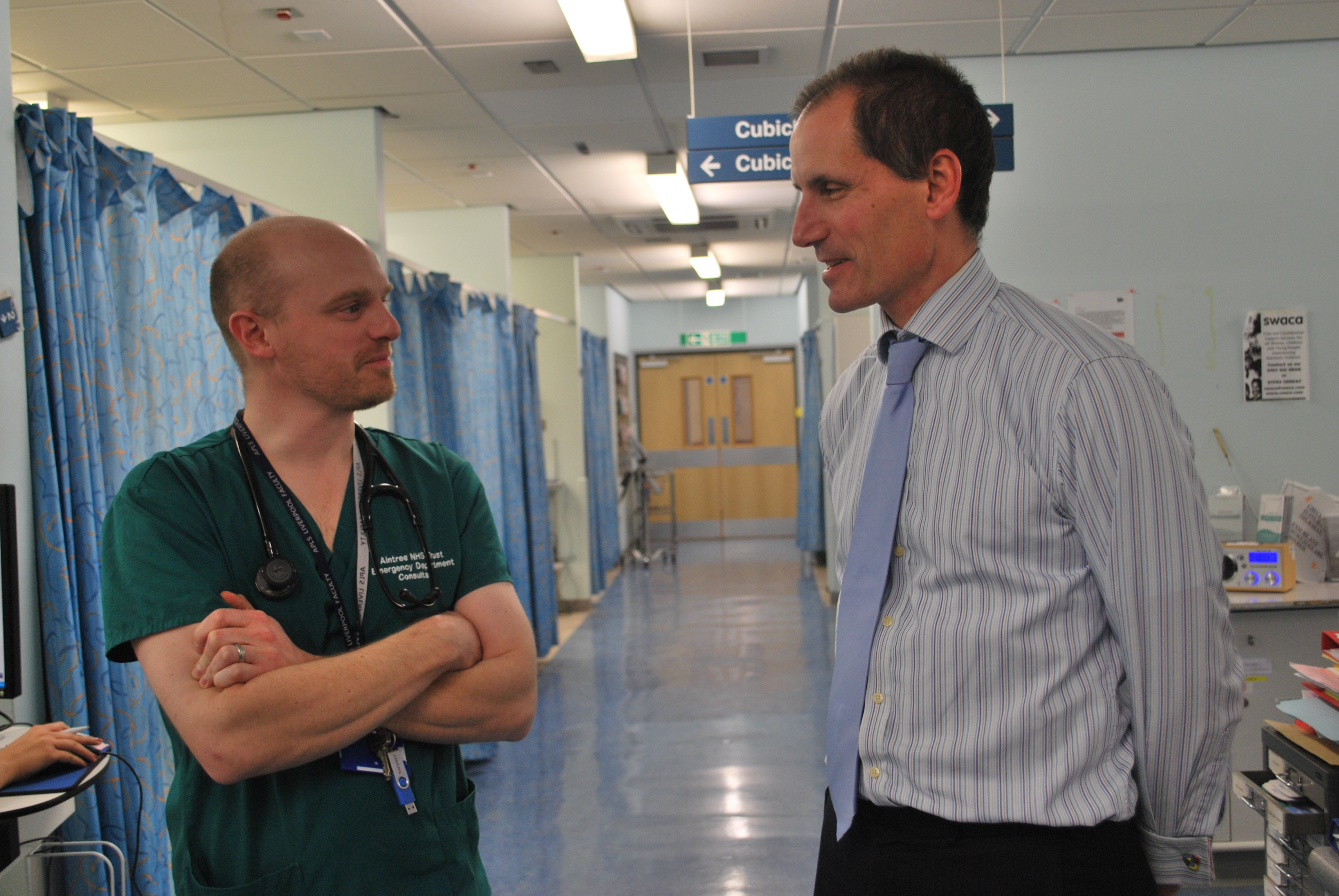 Sefton Central Labour MP Bill Esterson with Aintree Hospital's Emergency Medicine consultant Mike Hickey and A&E Matron Angie Slade.