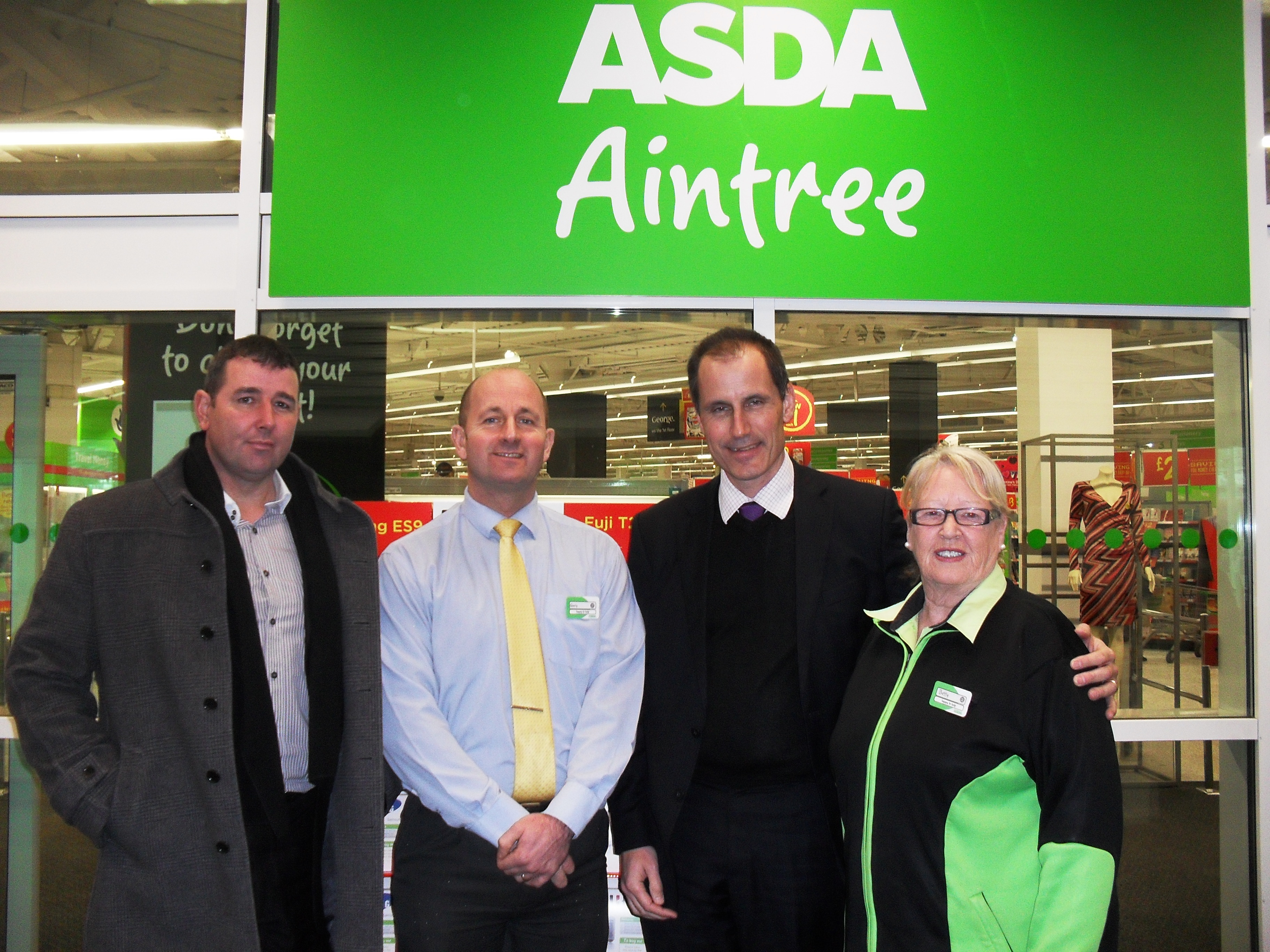 Tony Carr and Bill Esterson with Aintree Asda staff