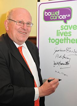 mike at bowel cancer event