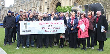 mike with ramblers outside parliament