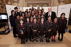 mike with local students