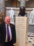 Mike with bust of Winston Churchill at the US House of Represent