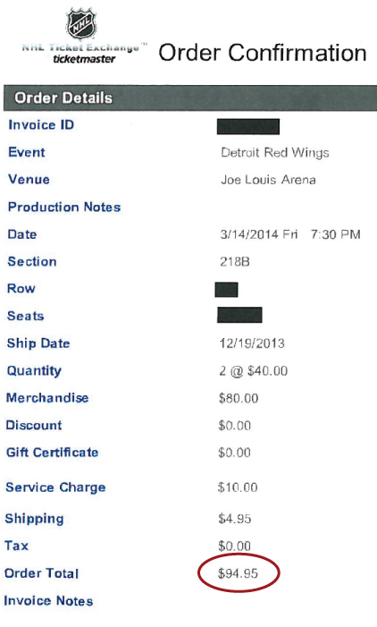 Red Wings Ticket Order Showing Sale Price of $94.95