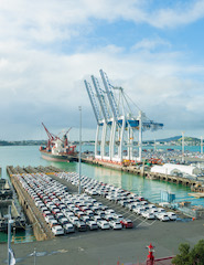 Cars on wharf at Port of Auckland