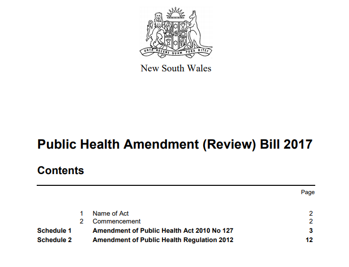Speech on the Public Health Amendment (Review) Bill 2017