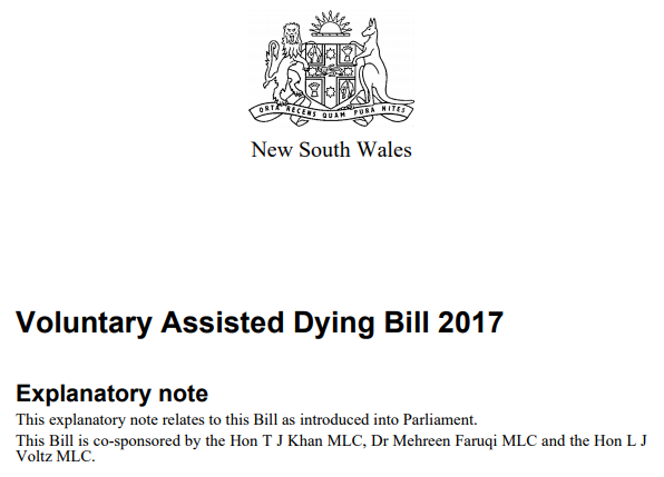 Speech on the Voluntary Assisted Dying Bill 2017