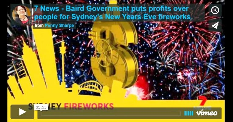 Baird Government puts profits over people for Sydney's New Years Eve fireworks