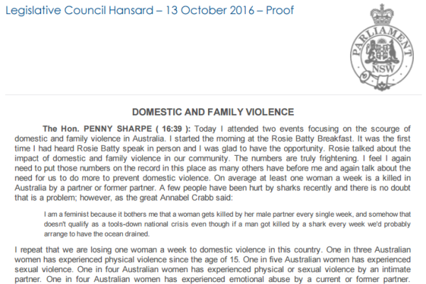 Speech on domestic and family violence