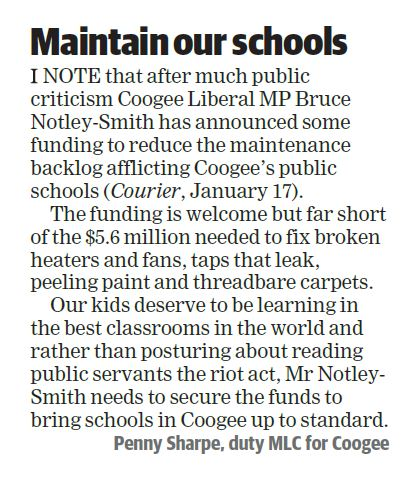Letter to the Editor: School maintenance backlog in Coogee