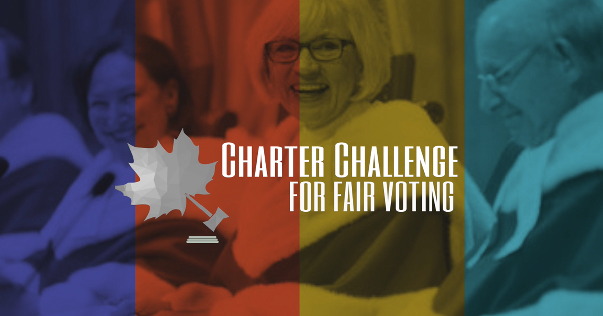 Canada's Supreme Court Justices are pictured, with the Charter Challenge for Fair Voting Logo imposed on top of the picture.