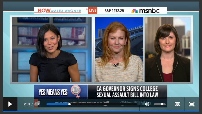 MSNBC: Sandra Speaks on Yes means Yes Bill