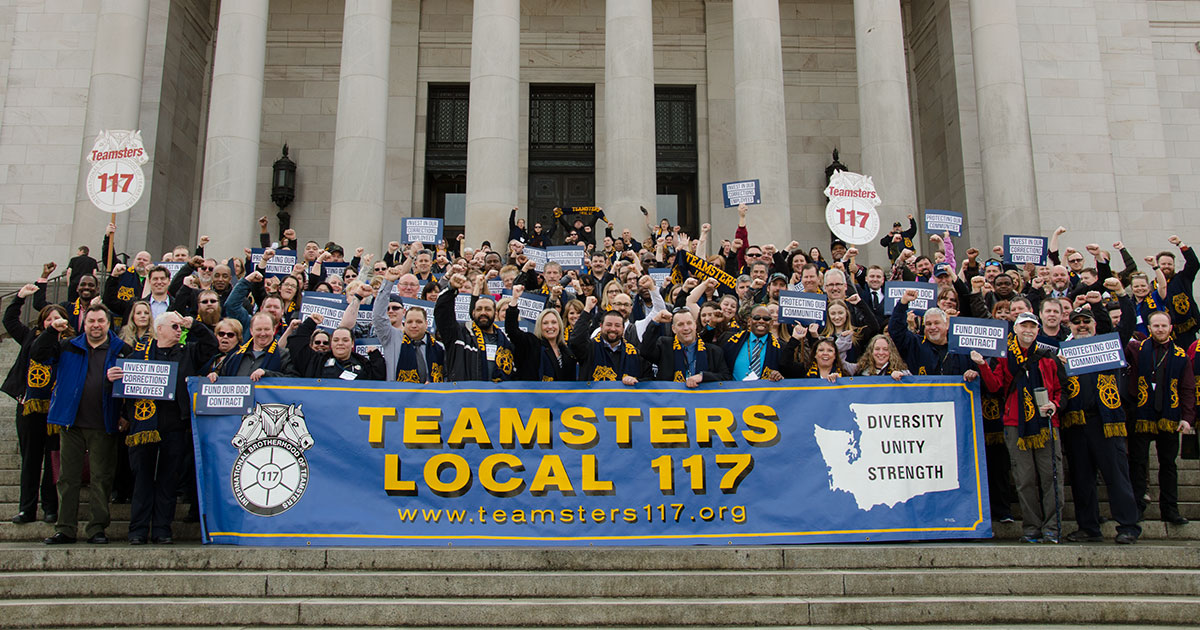 Teamster corrections employees bring their demands to the state capitol Image