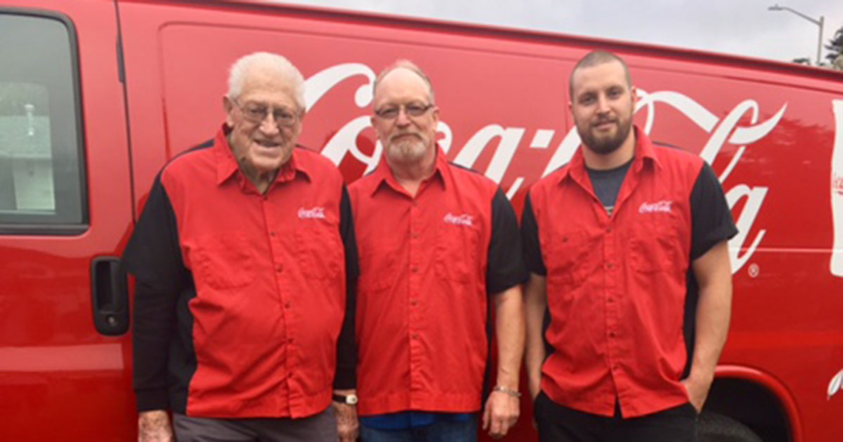 A family of Teamsters at Coke spanning three generations Image