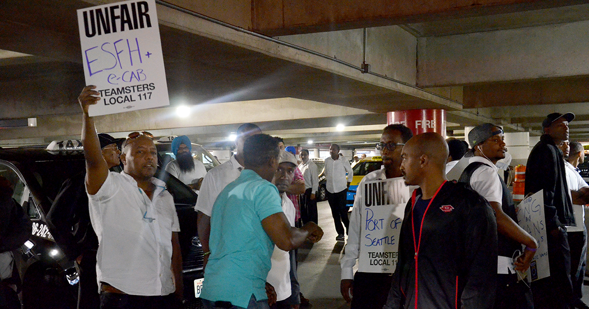 Taxi drivers demonstrate power through strike at Sea-Tac Airport Image
