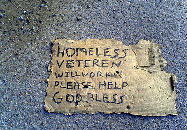 Homeless vet will work sign