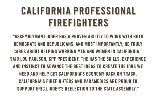 California Professional Firefighters endorse Eric Linder