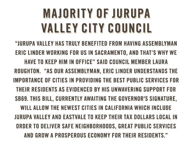 Majority of Jurupa Valley City Council endorses Eric Linder