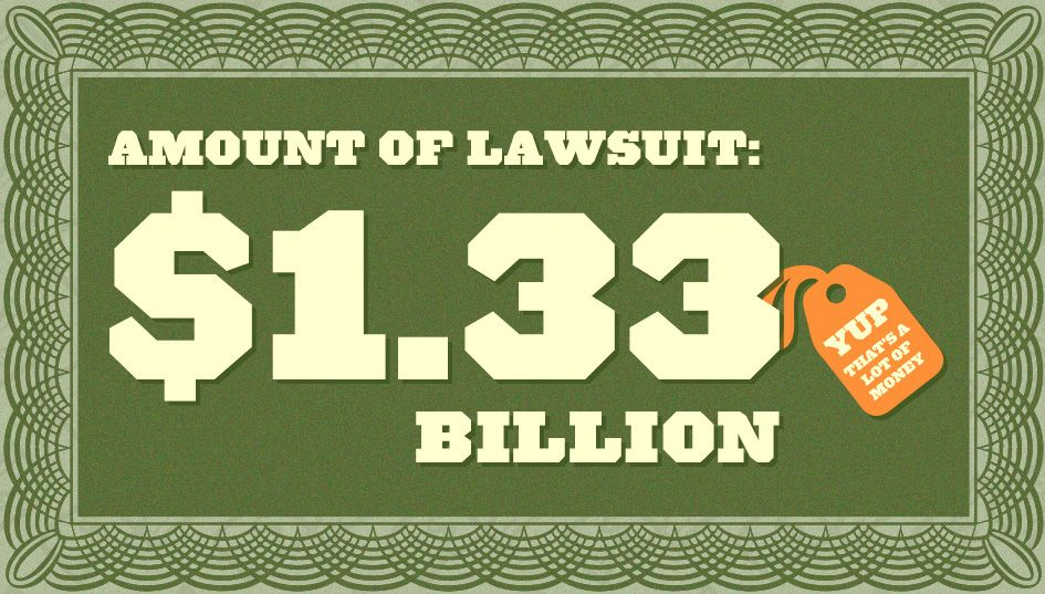 Amount of Lawsuit: 1.33 Billion (That's a lot of money!)