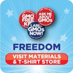 Store for fliers, t-shirts, buttons and other items for demonstrating against gmo and glyphosate.