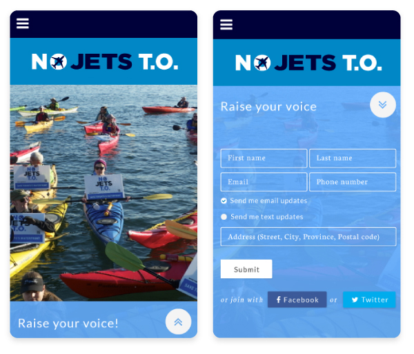 NoJets mobile view