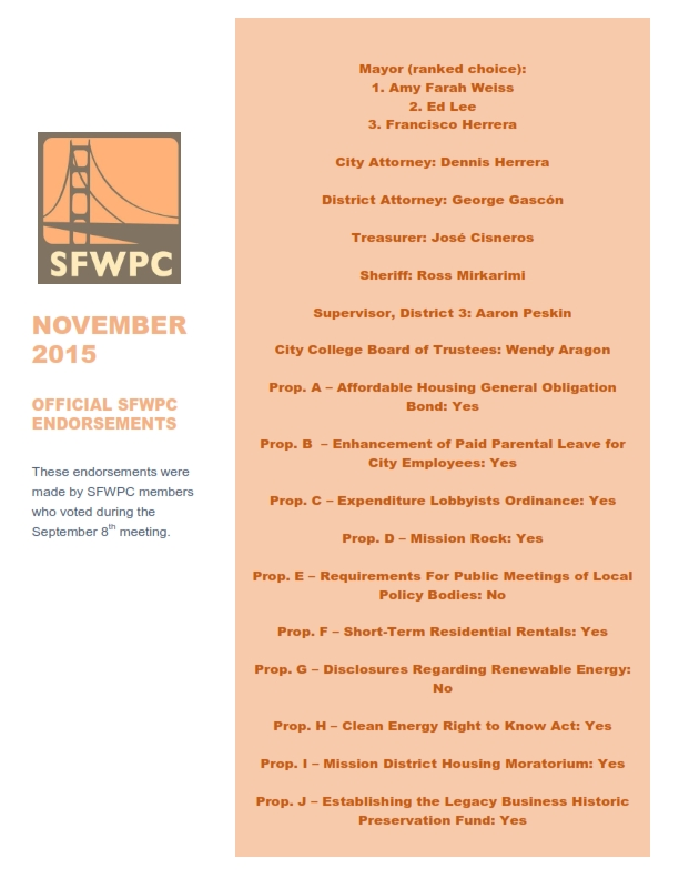 SFWPC 2015 Endorsements