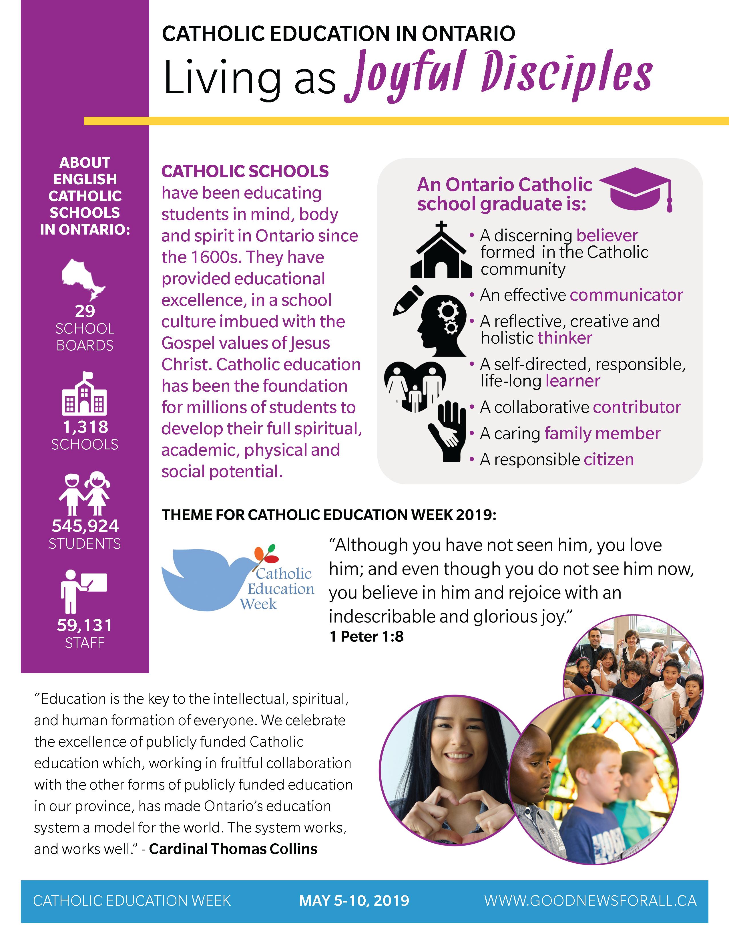 Image of Catholic Education Ontario's Living as Joyful Disciples infographic