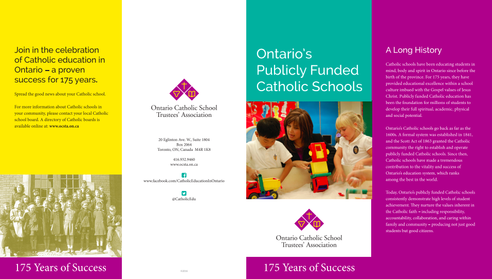 Image of Ontario's Publicly Funded Catholic Schools brochure