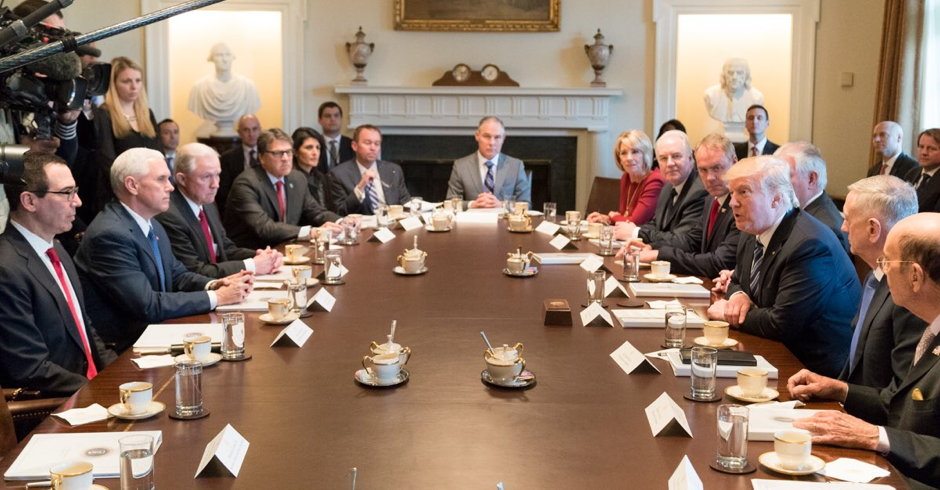 Caption This: President Trump Posts Photo of First Cabinet Meeting ...