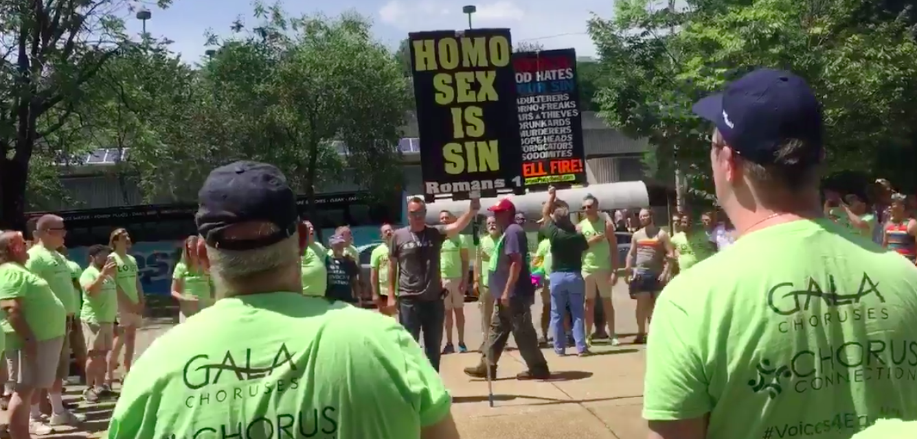 WATCH: Gay Men's Chorus Drowns Out Homophobic Pride Protesters