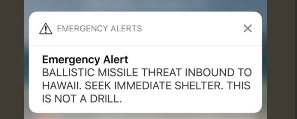 Hawaii Mistakenly Issues Ballistic Missile Threat Advising 'This is Not a Drill'