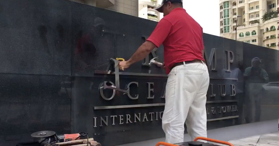 Watch: Actual Owner Has Trump Name Hammered Off Panama Hotel After Forcibly Removing Trump Management