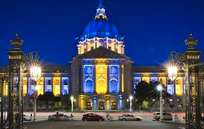 Blue and Gold at SF City Hall