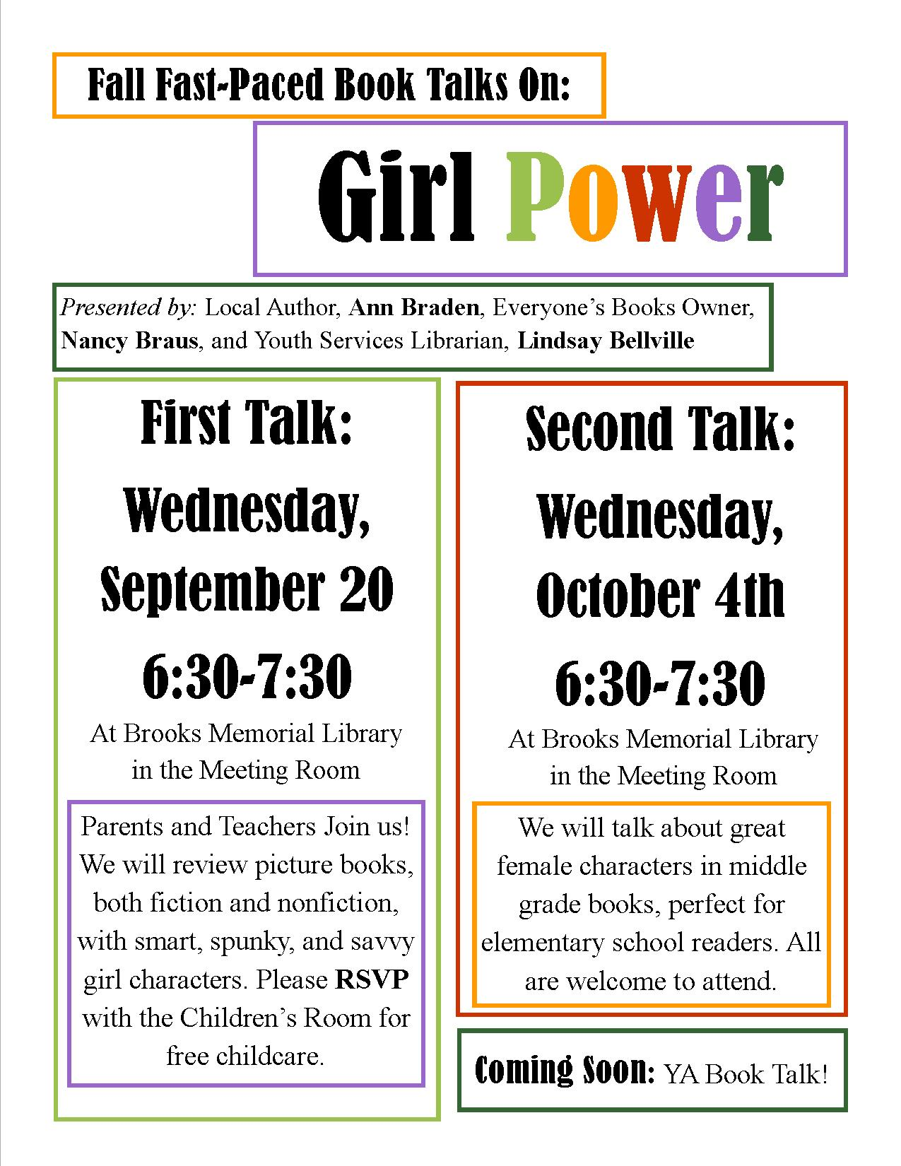 Girl Power Event information on a white background